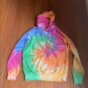 Tie die hoodie, fits large.